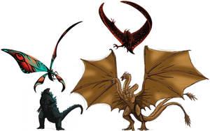 Godzilla and Mothra vs King Ghidorah and Rodan by MissSaber444