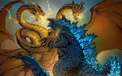 Godzilla 2019 vs King Ghidorah 2019 Epic Battle by MissSaber444