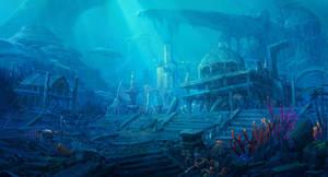 Atlantis Ruins in the Sea