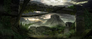 Mayan Temple Matte Painting Thumbnail