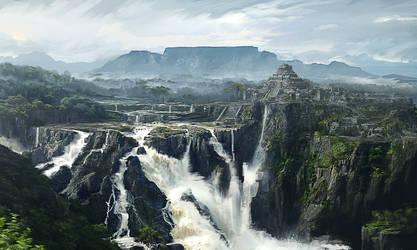 Waterfall Temple Mayan