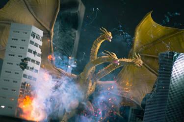 SHMA King Ghidorah 2019 destroyd the City