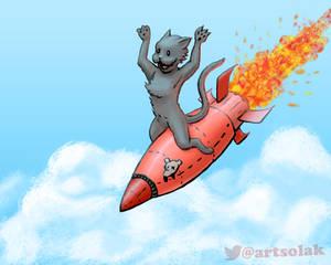 Cat Rocket Pinup Parody