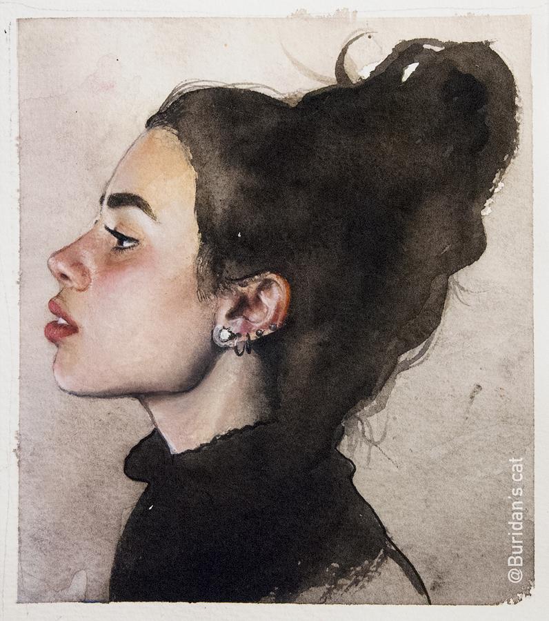 Watercolor Sketch - 1 by Buridanscat