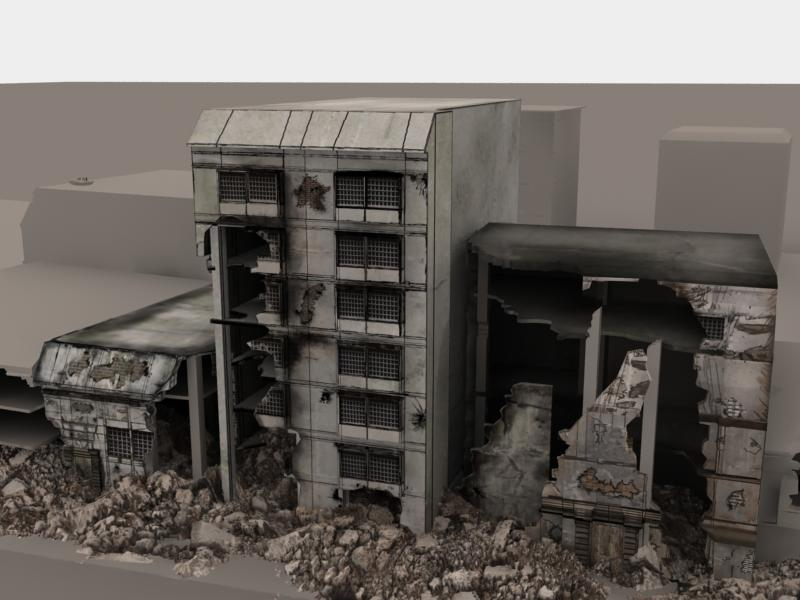 3d model destroyed buildings by davidnk on deviantart Build house online 3d free