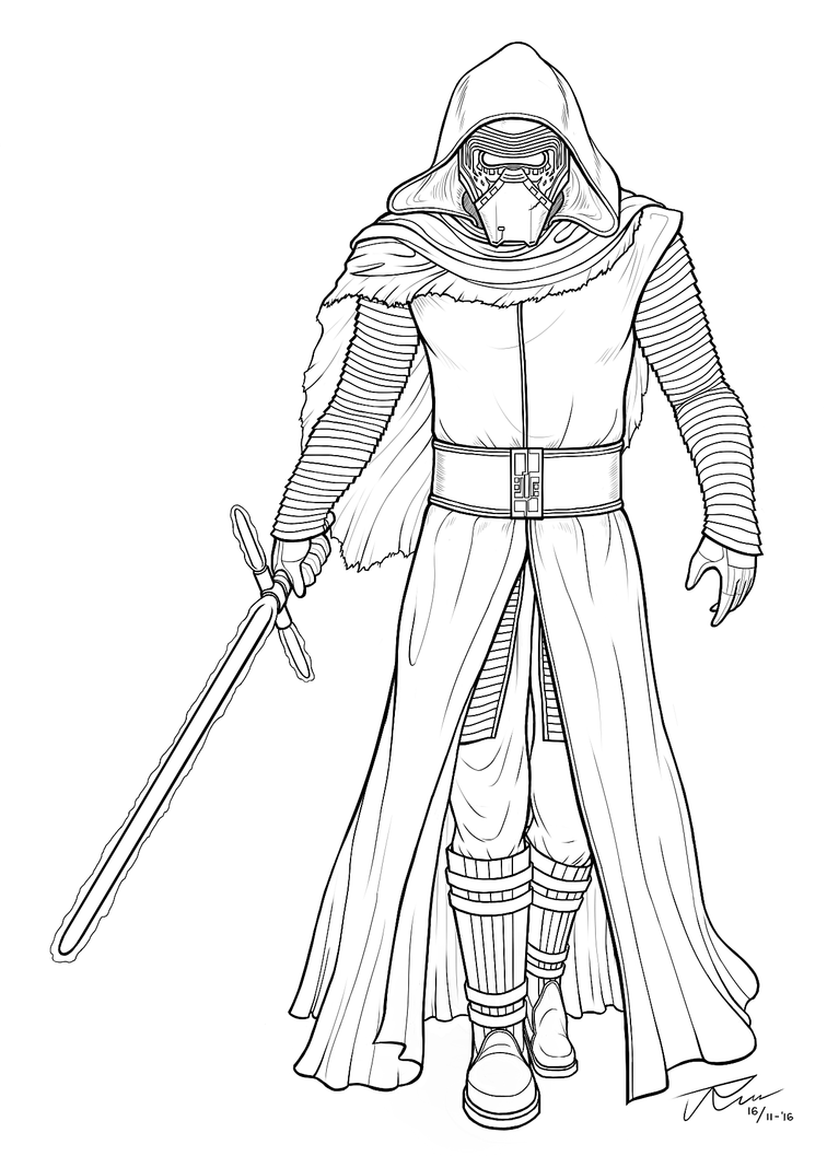 Kylo ren lineart by rousanilmy on deviantart for Kylo ren coloring page