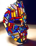 Stained glass goalie mask Tiffany technique