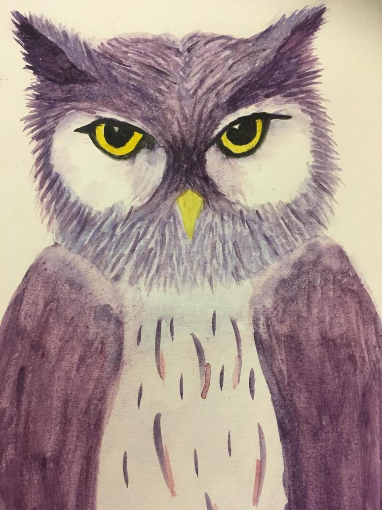 Owl watercolouring  by kimchi-Tea