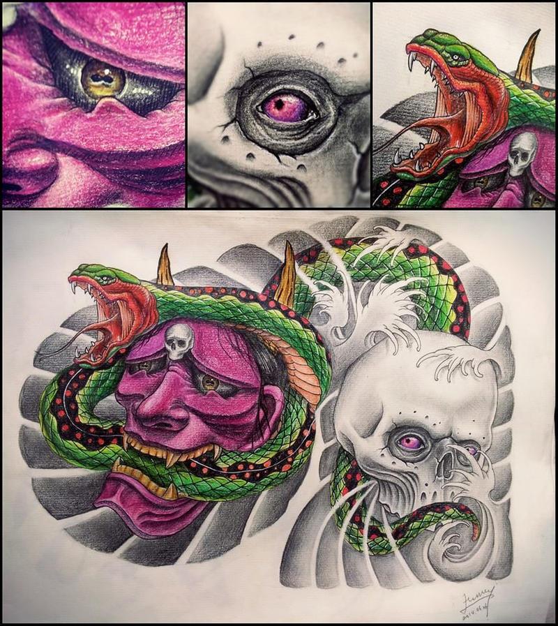 Japanese half chest tattoo design by uuu123447 on DeviantArt