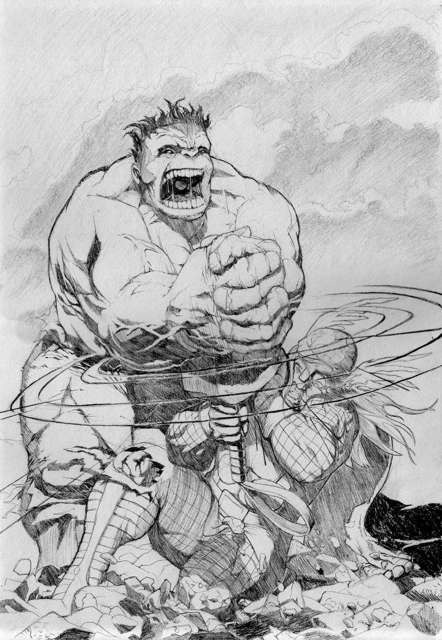 Thor vs Hulk by Juan-Ice
