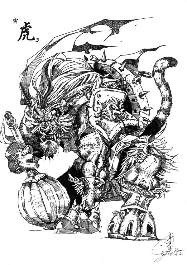 Chinese Monster Zodiac-Tiger by Eyue