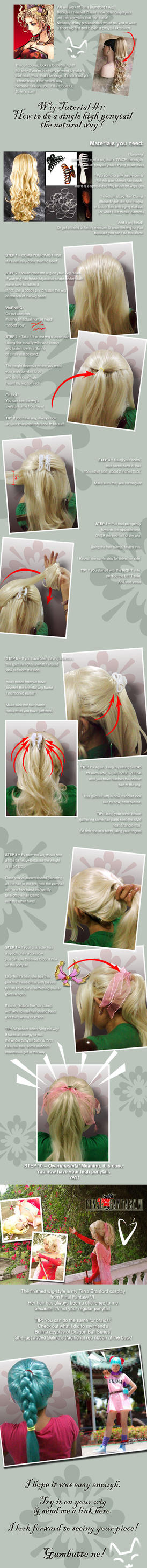 Wig Tutorial: 1 high ponytail by nekomiKasai