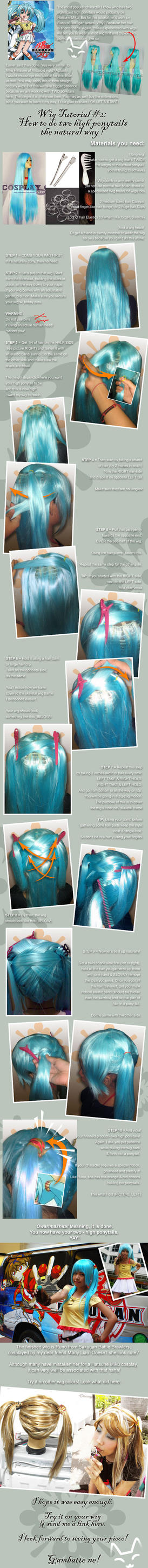 Wig Tutorial: 2 high ponytails by kasaikun16