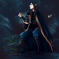 Fingon playing the harp by Egobarri