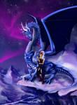 Night fantasia Dragon and elf