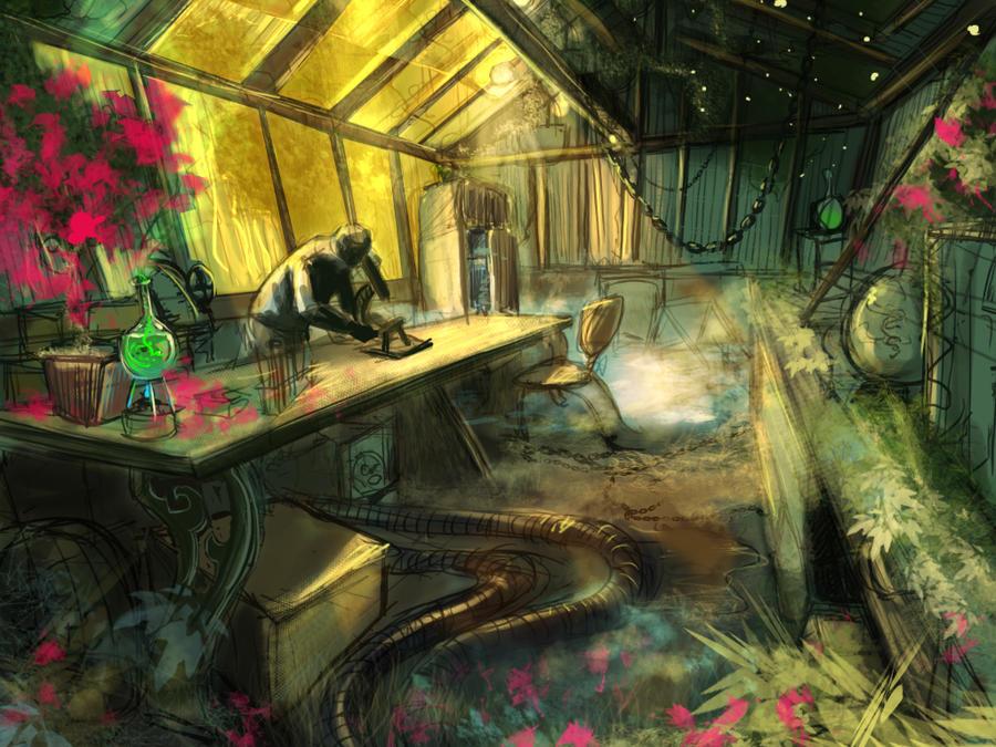 Greenhouse lab sketch by Nemo-Li