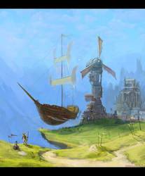 airship mood sketch by Nemo-Li