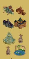Medieval houses pixel-art
