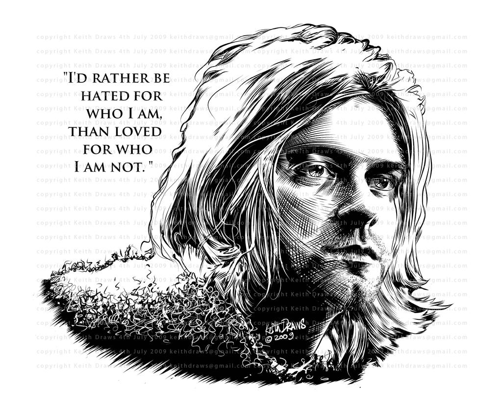 It's just a graphic of Transformative Drawing Of Kurt Cobain
