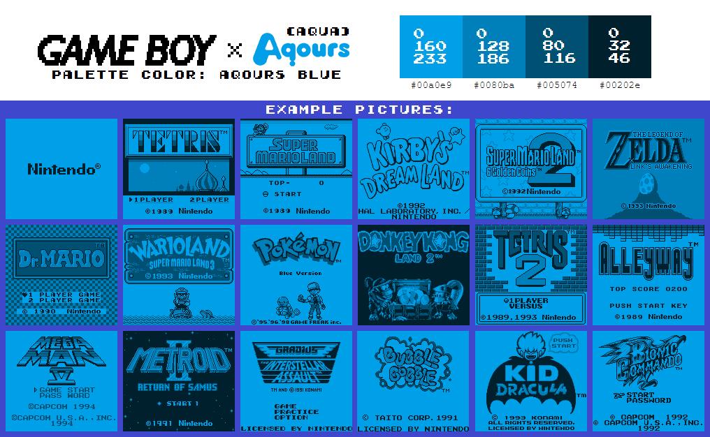 Game Boy Palette: Aqours Blue