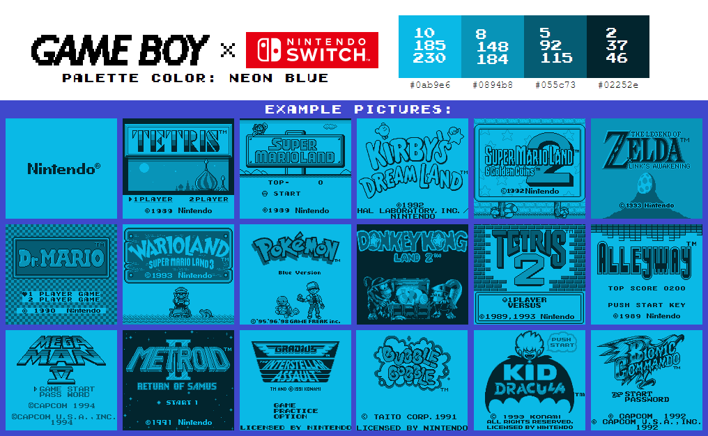 Game Boy Palette: Neon Blue