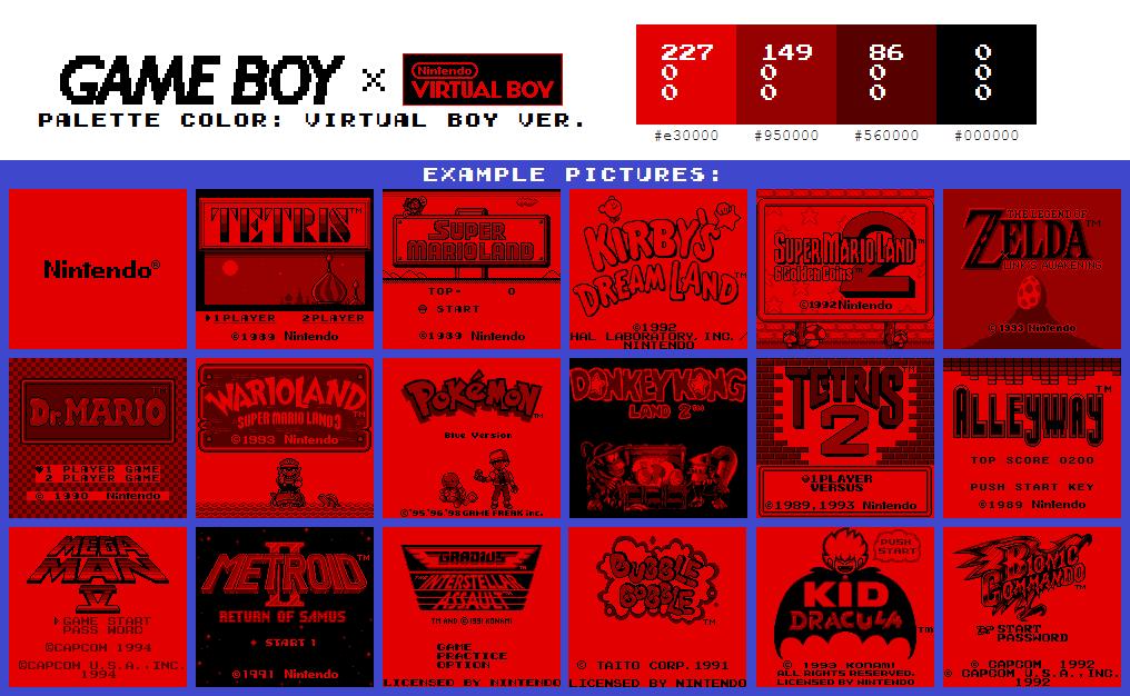 Game Boy Palette: Virtual Boy Ver.