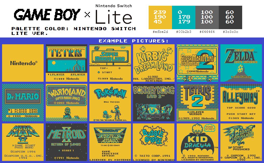 Game Boy Palette: Nintendo Switch Lite Ver.