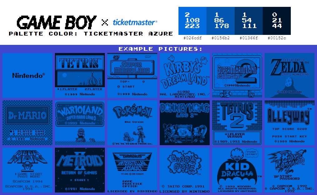 Game Boy Palette: Ticketmaster Azure