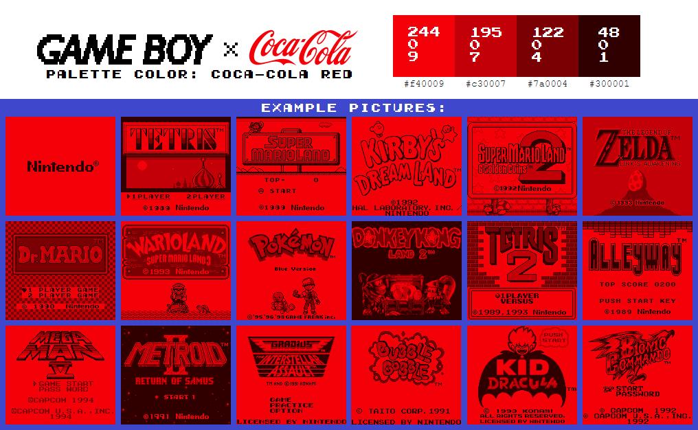 Game Boy Palette: Cola-Cola Red