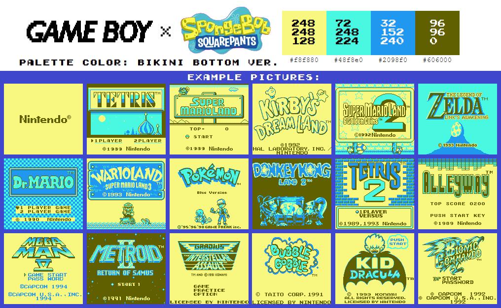Game Boy Palette: Bikini Bottom Ver.