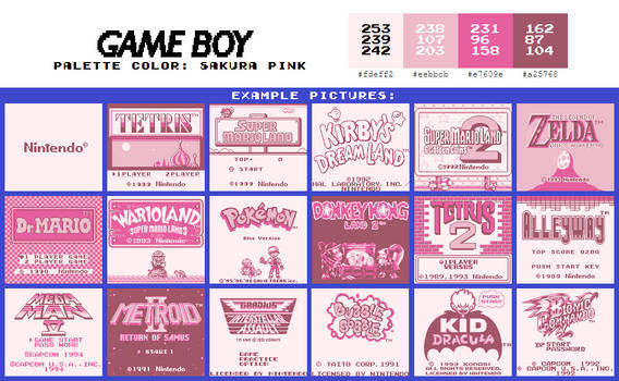 Game Boy Palette: Sakura Pink