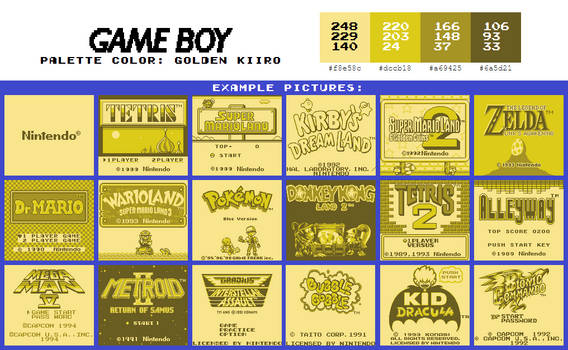 Game Boy Palette: Golden Kiiro