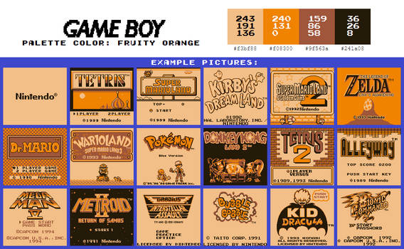 Game Boy Palette: Fruity Orange