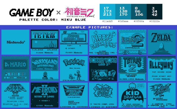 Game Boy Palette: Miku Blue