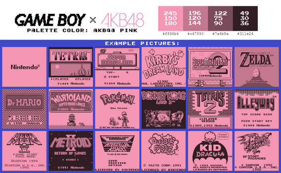 Game Boy Palette: AKB48 Pink