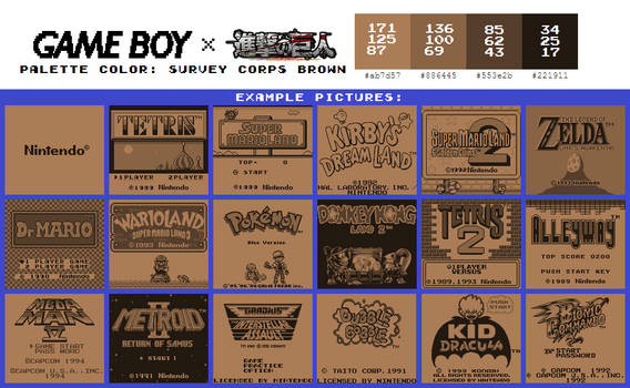 Game Boy Palette: Survey Corps Brown