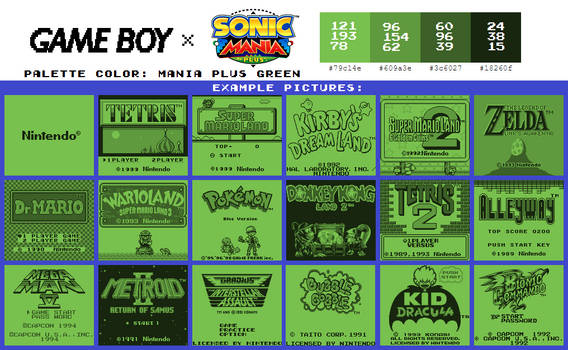 Game Boy Palette: Mania Plus Green