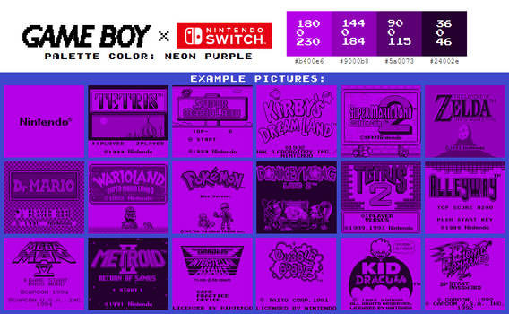 Game Boy Palette: Neon Purple