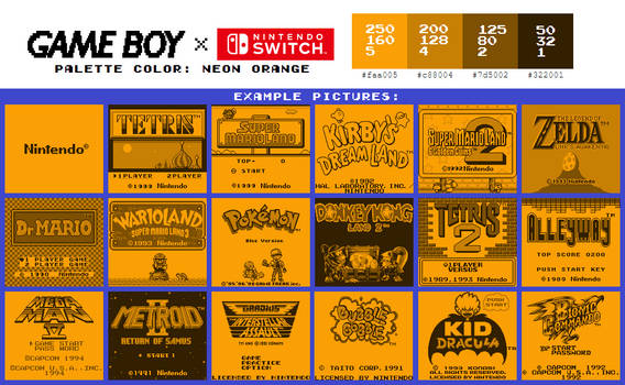 Game Boy Palette: Neon Orange