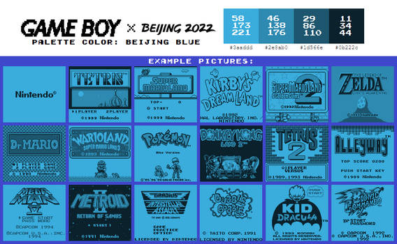 Game Boy Palette: Beijing Blue