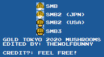 Gold Tokyo 2020 Mushroom Sprites