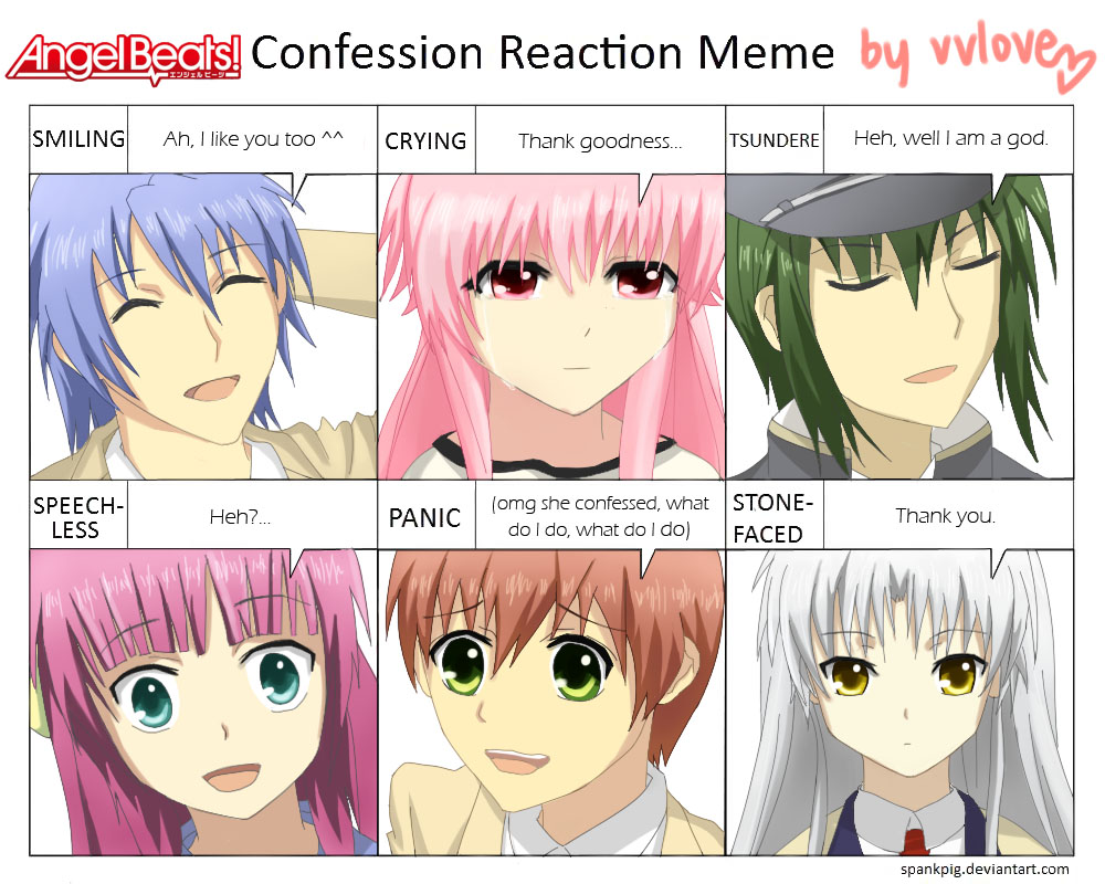 Anime Characters React Fanfiction : Angel beats confession meme by vvlove on deviantart