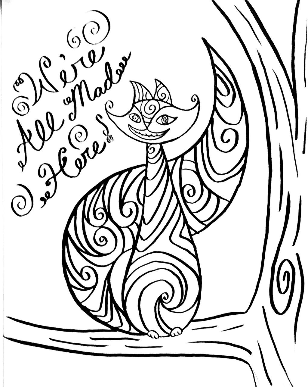 cheshire cat coloring page - cheshire cat color page by ashtreefae on deviantart