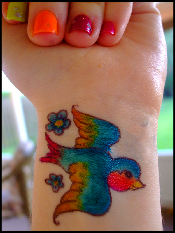 Colorful bird sharpie tattoo by dablurart on deviantart for Sharpie tattoo designs