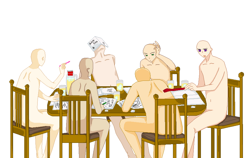 how to draw people sitting at a table