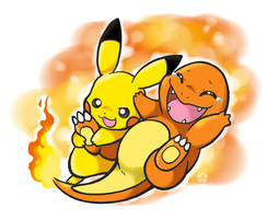 Pikachu tickles Charmander by Lechensko