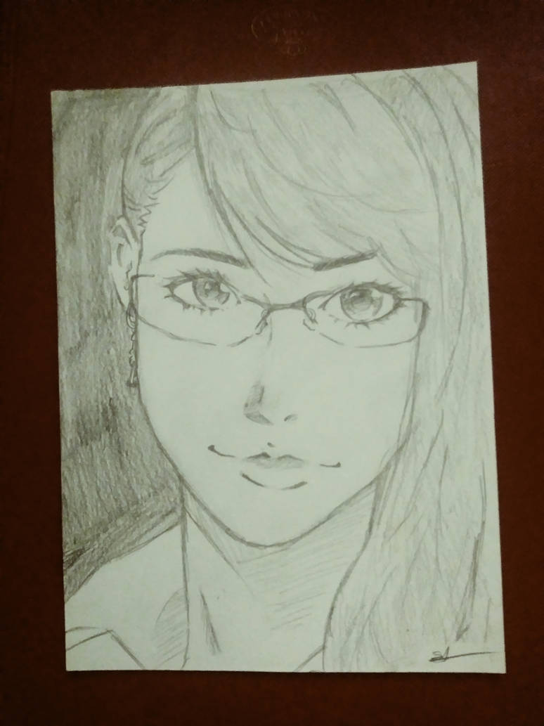 Anime girl with glasses sketch by straisprout