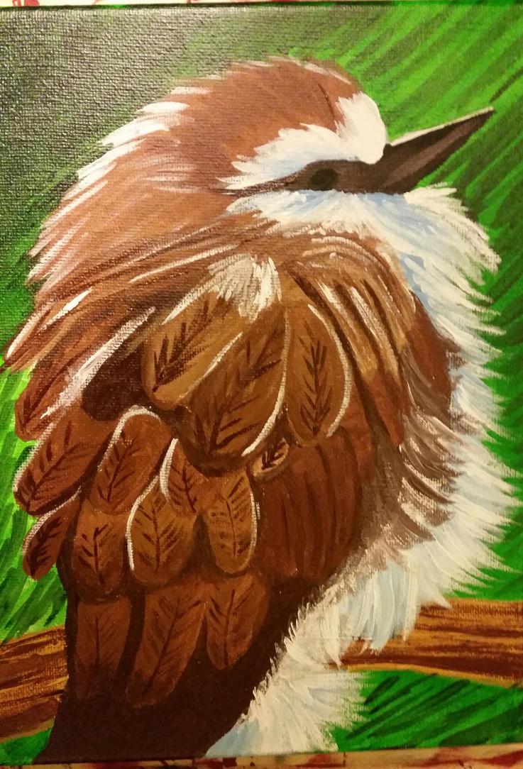 Fluffy Bird Acrylic on Canvas by mandy-the-mental