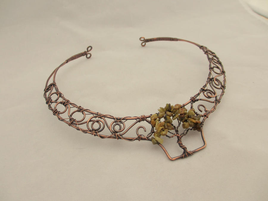 Tree of life copper wire wrapped collar by karenolwen on for How to make a wire tree of life sculpture