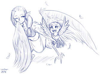 COM: Baby Harpy Playing in Her Mother's Feathers by LukkiStarr